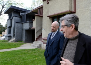 Sean Malone, CEO of the Frank Lloyd Wright Foundation, left, tours Frank Lloyd Wright in Wisconsin's Burnham Street project, Wednesday April 18, 2012 with Robert Hartmann, president of the organization.  / © Mark Hertzberg