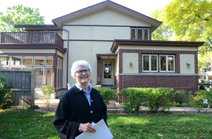 A press event introduces Frank Lloyd Wright's newly documented American System-Built House by Frank Lloyd Wright at 2107 West Lawn Ave. Madison, Wisconsin, Tuesday October 6, 2015. The house was built in 1917 and has two non-Wright additions, one from 1924 and the other from 1927. (c) Mark Hertzberg